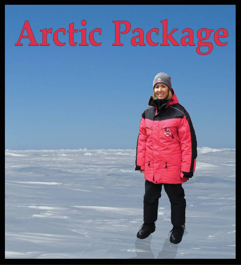 Double-insulated parka, insulated snow pants/bib,